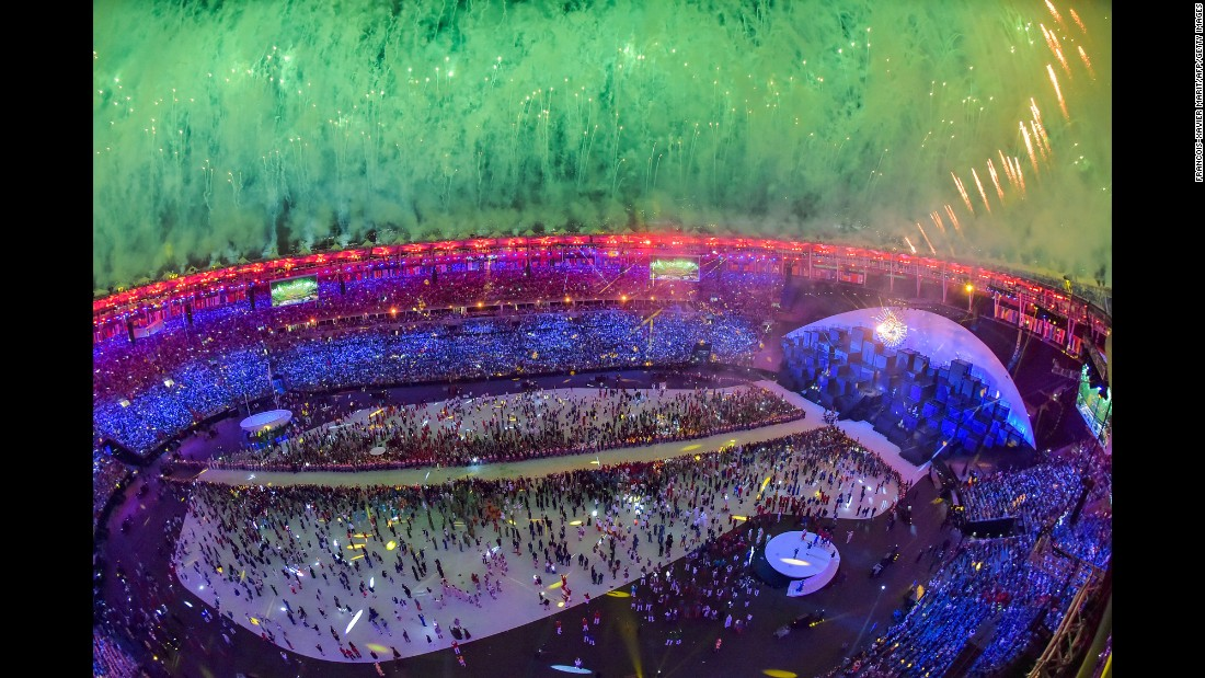 "Fireworks explode over the Maracana Stadium in Rio de Janiero at the end of the <a href=""http://www.cnn.com/2016/08/05/sport/opening-ceremony-rio-2016-olympic-games/index.html"">Olympic Games' opening ceremony</a> on Friday, August 5."