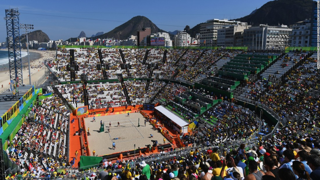 The beach volleyball arena is one of Rio 2016's most stunning venues. The temporary structure can hold 12,000 fans and sits right on Copacabana beach.