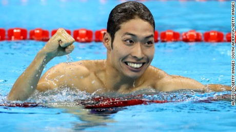 Kosuke Hagino celebrates after winning gold in the 400m individual medley.