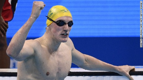 Australia's Mack Horton celebrates after winning the men's 400m freestyle final.