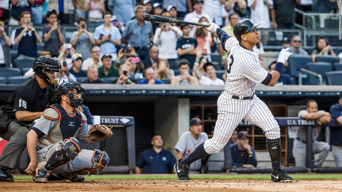 Rodriguez hits a home run for his 3,000th career hit against the Detroit Tigers at Yankee Stadium on Friday, June 19, 2015.