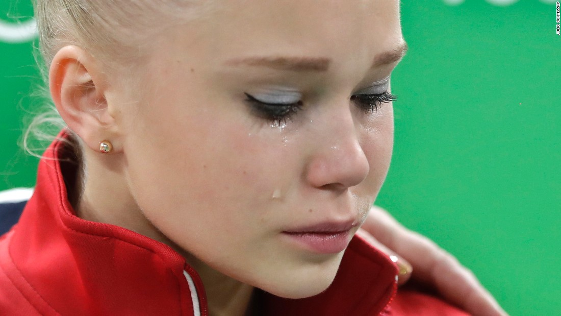 A tear runs down the face of Russia's national all-round champion Angelina Melnikova as she leaves the arena after failing to qualify for the final of the artistic gymnastics women's competition.