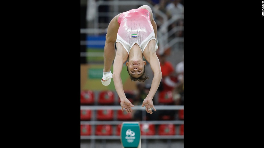 Uzbekistan's Oksana Chusovitina performs on the balance beam during the artistic gymnastics women's qualification round. At 41, she is the oldest gymnast to ever compete in the Olympics.