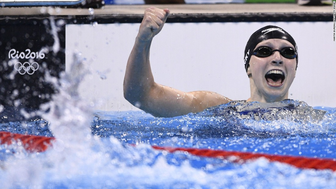 The United States' Katie Ledecky celebrates after winning the gold medal in the women's 400m freestyle final.