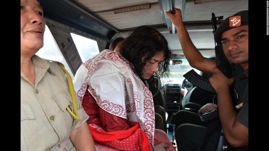"Sharmila, also known as the ""Iron Lady of Manipur,"" leaves after an appearance at the Patiala House Court in New Delhi on May 28, 2014."