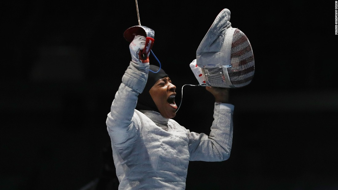 "U.S. fencer Ibtihaj Muhammad celebrates after defeating Ukraine's Olena Kravatska in the individual sabre competition on Monday, August 8. Muhammad is the <a href=""http://www.cnn.com/2016/08/08/sport/ibtihaj-muhammad-individual-sabre-fencing-2016-rio-olympics/index.html"" target=""_blank"">first U.S. Olympian to compete in hijab</a>."