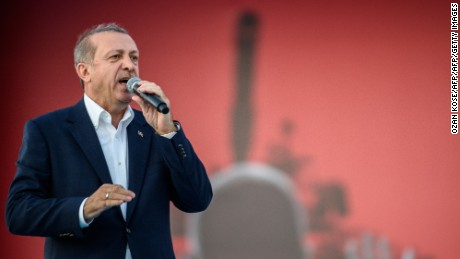 Turkish President Recep Tayyip Erdogan speaking in Instanbul during a rally against the failed military coup on July 15.