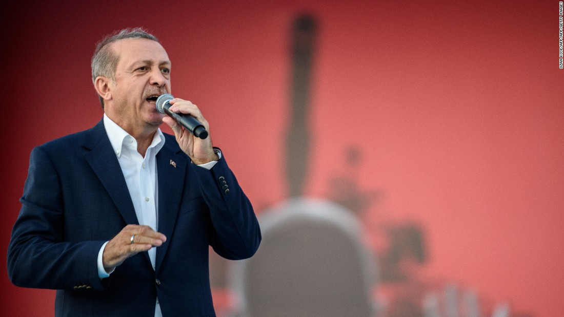 Turkish President Recep Tayyip Erdogan thanks his supporters during a massive rally in Istanbul on August 7 to mark the failed military coup on July 15.