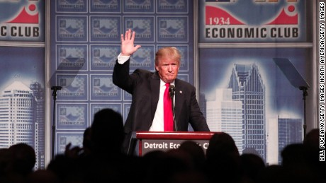 DETROIT, MI - AUGUST 8: Republican presidential candidate Donald Trump delivers an economic policy address detailing his economic plan at the Detroit Economic Club August 8, 2016 in Detroit Michigan.  Donald Trump is expected to attend a fundraiser in Canton, OH later today. (Photo by Bill Pugliano/Getty Images)