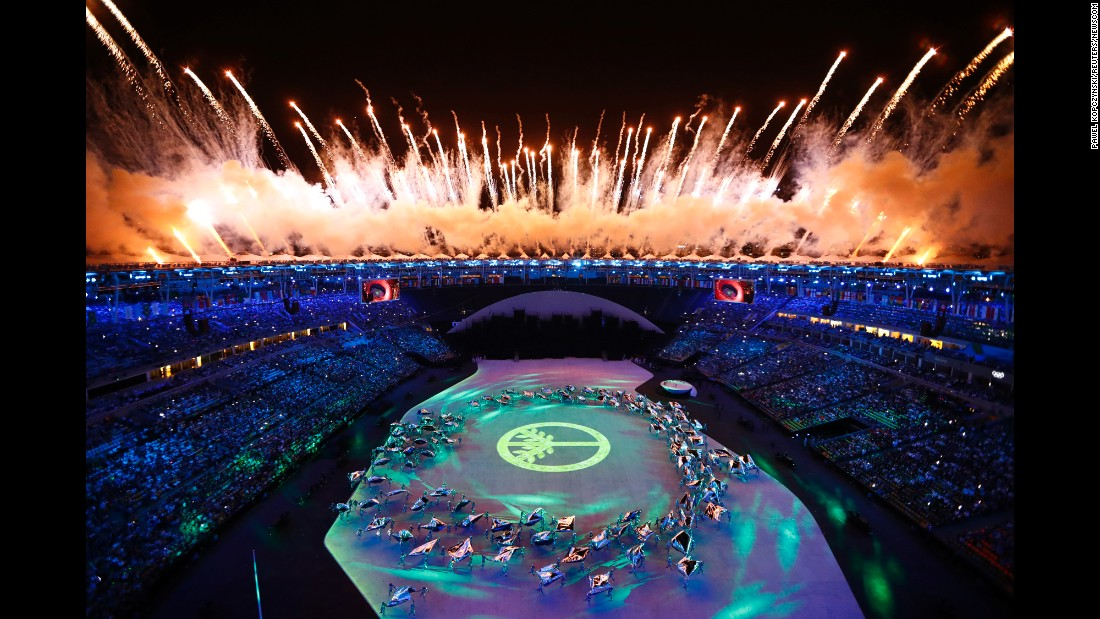 Fireworks explode during the opening ceremony, which was held at the Maracana Stadium on Friday, August 5.