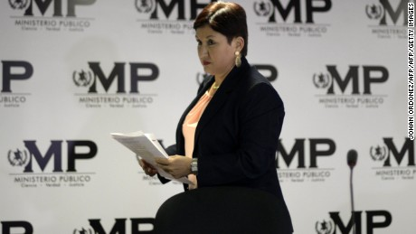 Guatemalan Attorney General Thelma Aldana leaves after referring to the apprehension of the former Chief of Customs of the Tax Administration Superintendence (SAT), Claudia Mendez, during a press conference in Guatemala City on August 21, 2015. Mendez was allegedly among corrupt officials who received briberies by businesses to clear their imports through customs at a fraction of the actual tax rate.   AFP PHOTO / JOHAN ORDONEZ        (Photo credit should read JOHAN ORDONEZ/AFP/Getty Images)