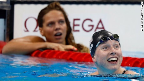 Lilly King of the United States celebrates winning gold in the Women's 100m Breaststroke Final.