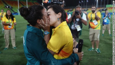 Isadora Cerullo, left, and Marjorie Enya kiss after their Olympic marriage proposal Monday in Rio.