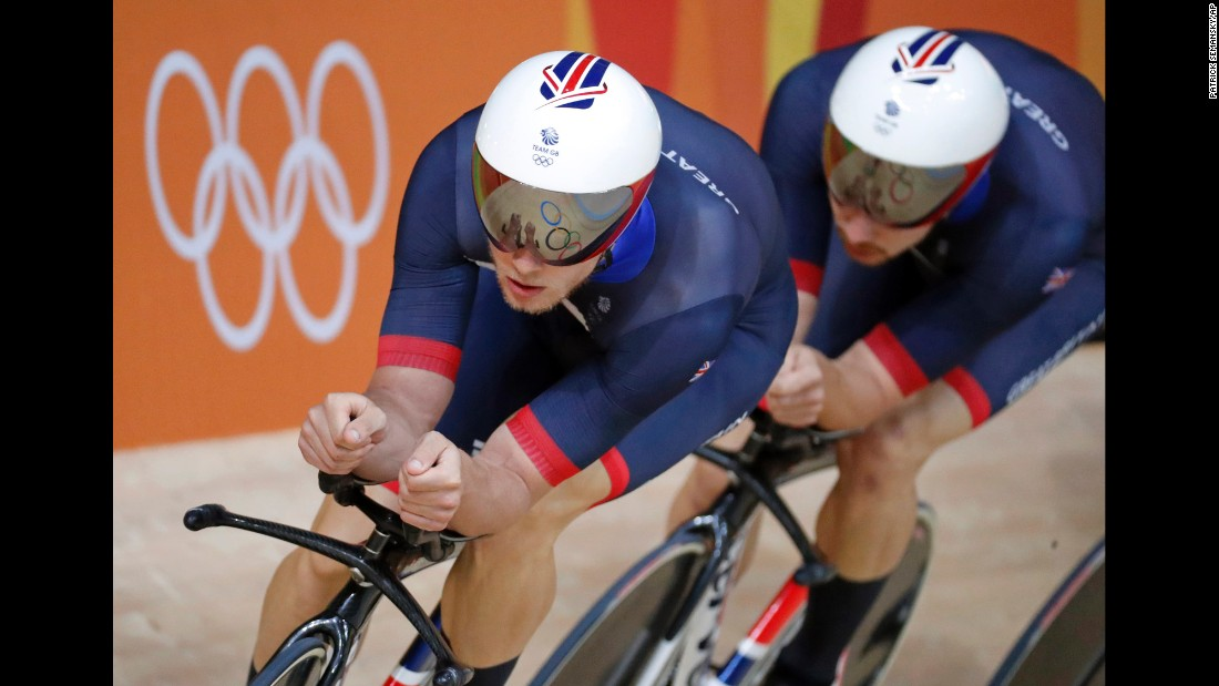 Track cyclists from Great Britain put their heads down during a training session inside the Olympic Velodrome.