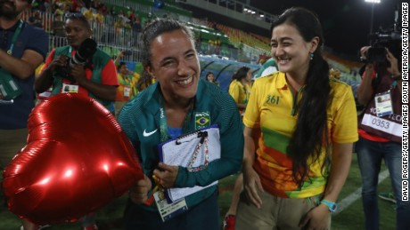 Marjorie Enya and rugby player Isadora Cerullo of Brazil got engaged at Deodoro Park.