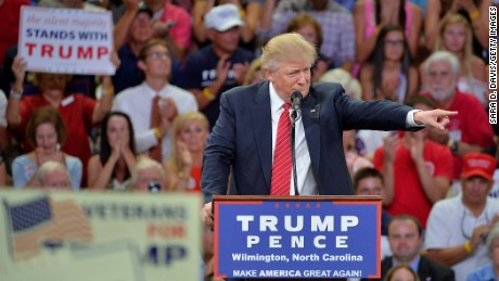 Republican presidential candidate Donald Trump addresses the audience during a campaign event at Trask Coliseum on Tuesday, August 9 in Wilmington, North Carolina.