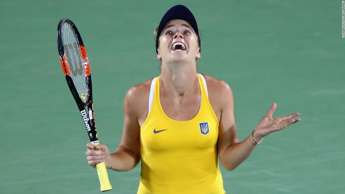 "Ukrainian tennis player Elina Svitolina reacts after <a href=""http://www.cnn.com/2016/08/09/tennis/serena-williams-beaten-svitolina-rio-olympics/index.html"" target=""_blank"">her third-round victory</a> over top-ranked Serena Williams. Svitolina won 6-4, 6-3."