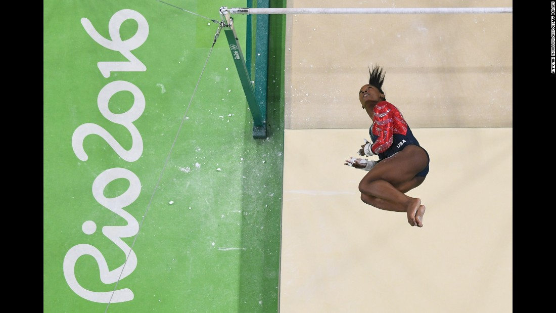 "You may already know that U.S. Olympic gold medal gymnast Simone Biles has a signature move named after her called ""The Biles."" In fact Biles has an entire catalog of specialized maneuvers at her command when she performs a floor exercise, or on the balance beam, the uneven bars or the vault. Click through the gallery to see some of Biles' most breathtaking tumbles, dismounts and other moves that have wowed the world during her time at the 2016 Olympics in Rio de Janeiro."