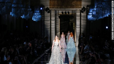 A model presents a creation by Zuhair Murad during the 2016 spring/summer Haute Couture collection on January 27, 2016 in Paris.   AFP PHOTO / PATRICK KOVARIK / AFP / PATRICK KOVARIK        (Photo credit should read PATRICK KOVARIK/AFP/Getty Images)