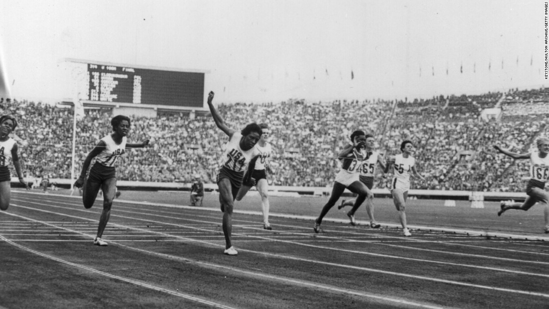"Pictured, far right, is Ewa Klobukowska of Poland, during the women's 100m final at the 1964 Tokyo Olympics. <a href=""https://theolympians.co/2016/05/19/ewa-klubokowskas-timing-was-right-in-1964-but-wrong-in-1967-the-inexact-science-of-gender-testing-in-the-1960s/"" target=""_blank"">Klobukowska</a> helped set a world record in the women's 4x100m relay. However, her record was discounted in 1967 after the IAAF found her to have ""one chromosome too many"" -- an extra Y chromosome, in addition to the traditional XX female chromosomes -- during a gender test."
