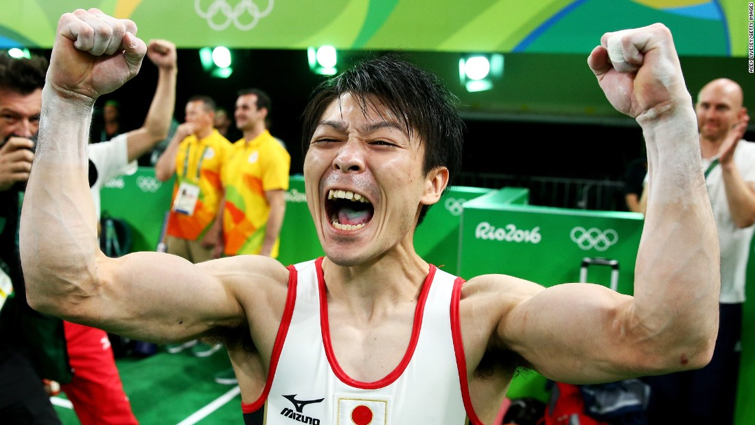 "Japanese gymnast Kohei Uchimura celebrates after <a href=""http://edition.cnn.com/2016/08/10/sport/mens-gymnastics-kohei-uchimura/index.html"" target=""_blank"">winning the individual all-around.</a> Uchimura also won the all-around in 2012."
