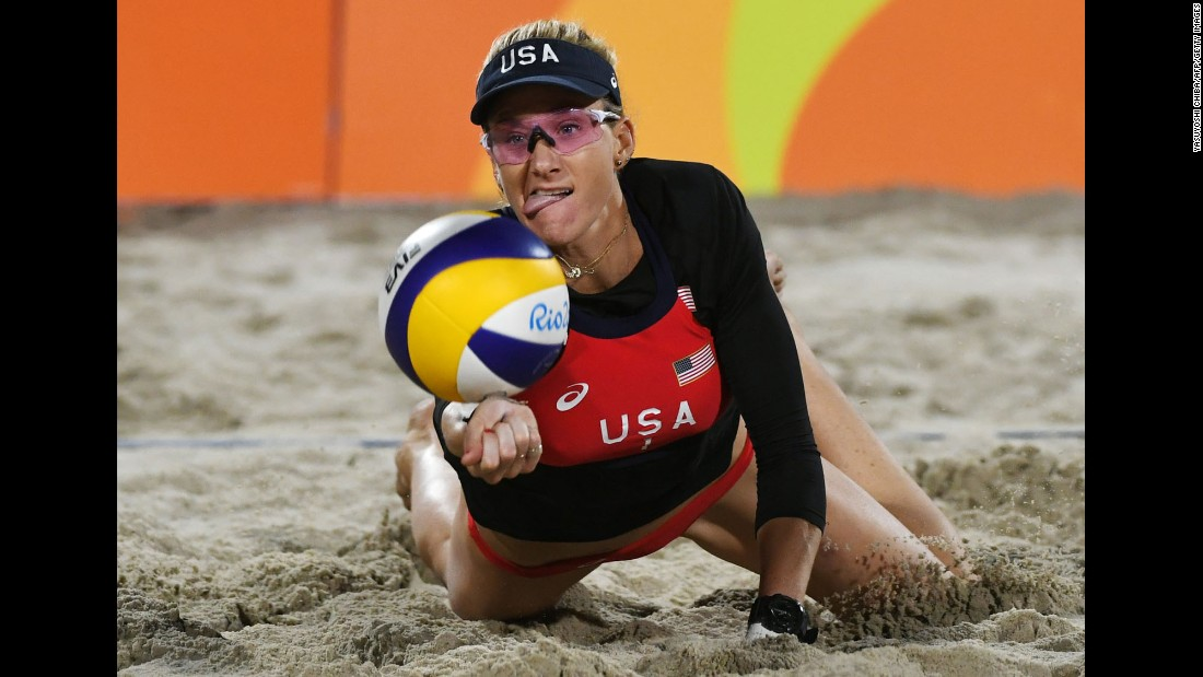U.S. beach volleyball player Kerri Walsh Jennings dives for a ball during a qualifying match.