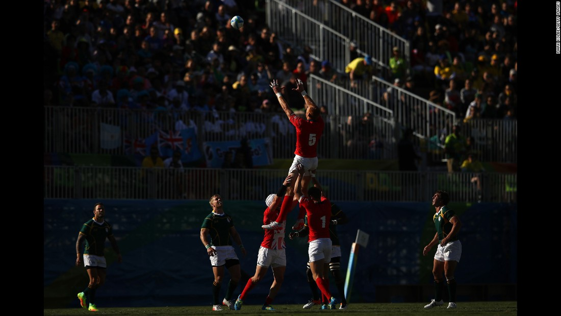 British rugby player James Rodwell rises during a lineout against South Africa.