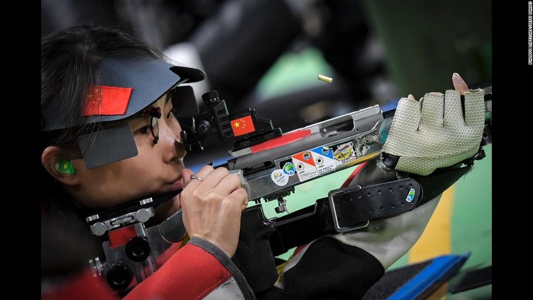 China's Zhang Binbin competes in the 50-meter rifle (three positions). She won the silver.