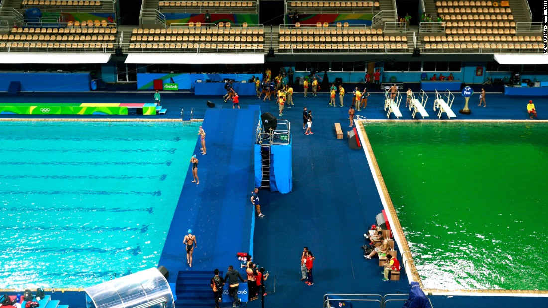 "<strong>August 9:</strong> The Olympic diving pool turned green in Rio de Janeiro. Officials <a href=""http://www.nytimes.com/2016/08/11/sports/olympics/green-water-pool-rio-games.html"" target=""_blank"">blamed the color change</a> on a chemical imbalance in the water, but they said there were no health risks to the athletes."