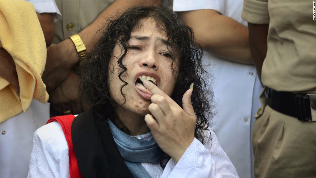 "With a lick of some honey that was spooned onto her palm, human-rights activist Irom Sharmila <a href=""http://www.cnn.com/2016/08/09/asia/longest-hunger-strike-ends/"" target=""_blank"">ended her 16-year hunger strike</a> -- the longest such fast in the world -- in India on Tuesday, August 9. ""I will never forget this moment,"" said Sharmila, who was finally free of the nasal tube that the government had used to force-feed her for more than a decade. The 2005 Nobel Prize nominee started her strike in 2000, after 10 civilians allegedly were killed by Indian soldiers in Manipur. She was protesting India's Armed Forces Special Powers Act, which gives sweeping powers to the military to search properties, detain suspects without warrants and even shoot on sight."