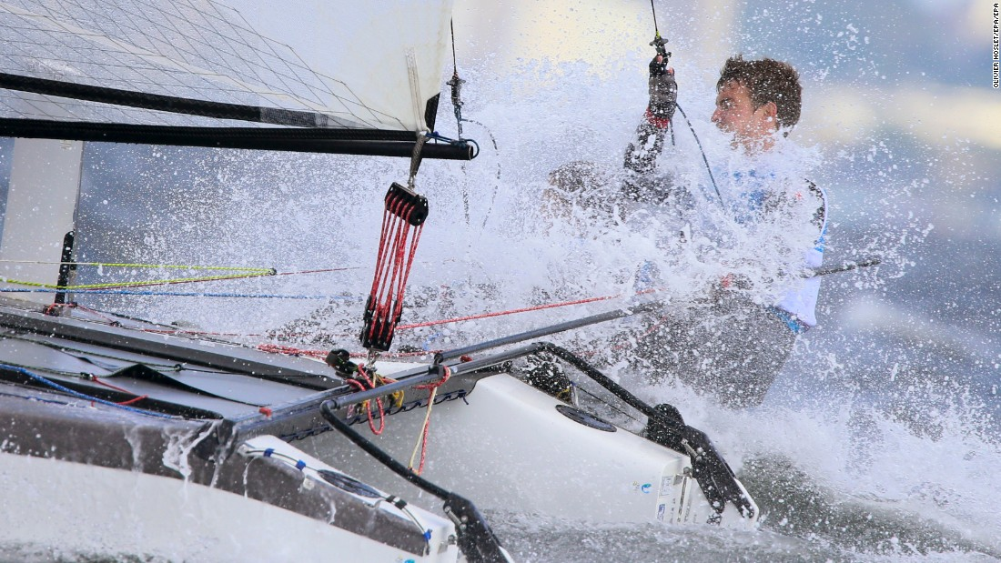 Ben Saxton and Nicola Groves sail for Great Britain in Guanabara Bay.