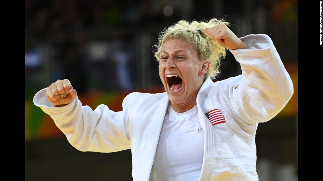 American Kayla Harrison celebrates after winning the judo gold medal in the 78-kilogram (172-pound) weight class. Harrison also won gold at the 2012 London Games.