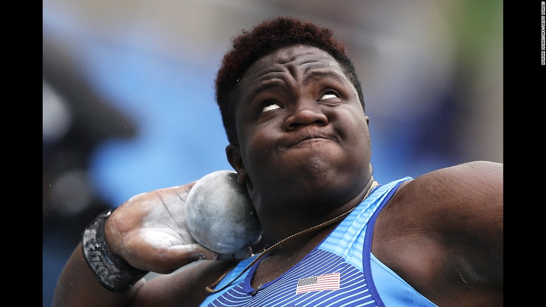 U.S. athlete Raven Saunders competes in the shot put.