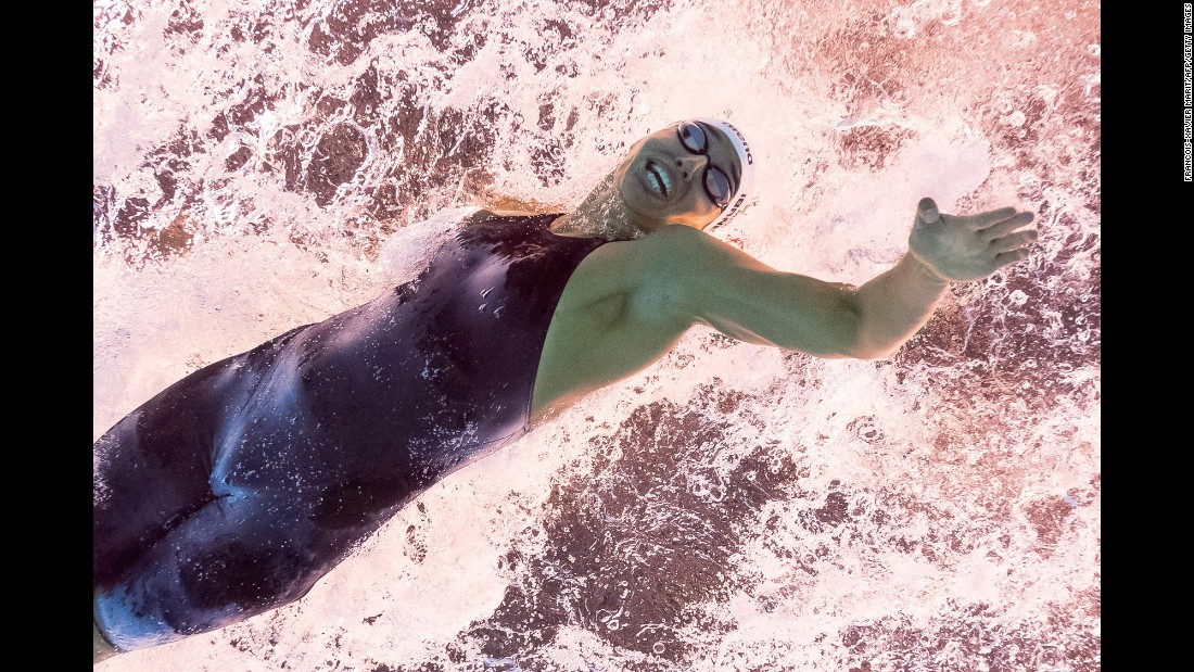 Mexican swimmer Liliana Ibanez Lopez takes part in the 50-meter freestyle heats.