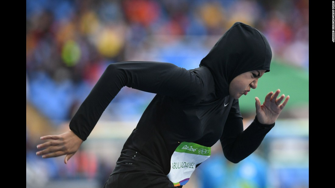 Kariman Abuljadayel became the first female sprinter to represent Saudi Arabia at the Olympics when she took part in the 100-meter preliminaries. She set a new national record of 14.61 seconds but did not qualify for the next round.
