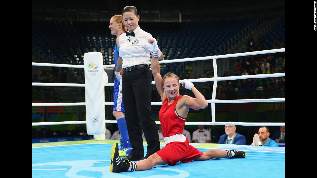 Ukrainian boxer Tetyana Kob celebrates a victory in the flyweight preliminaries.