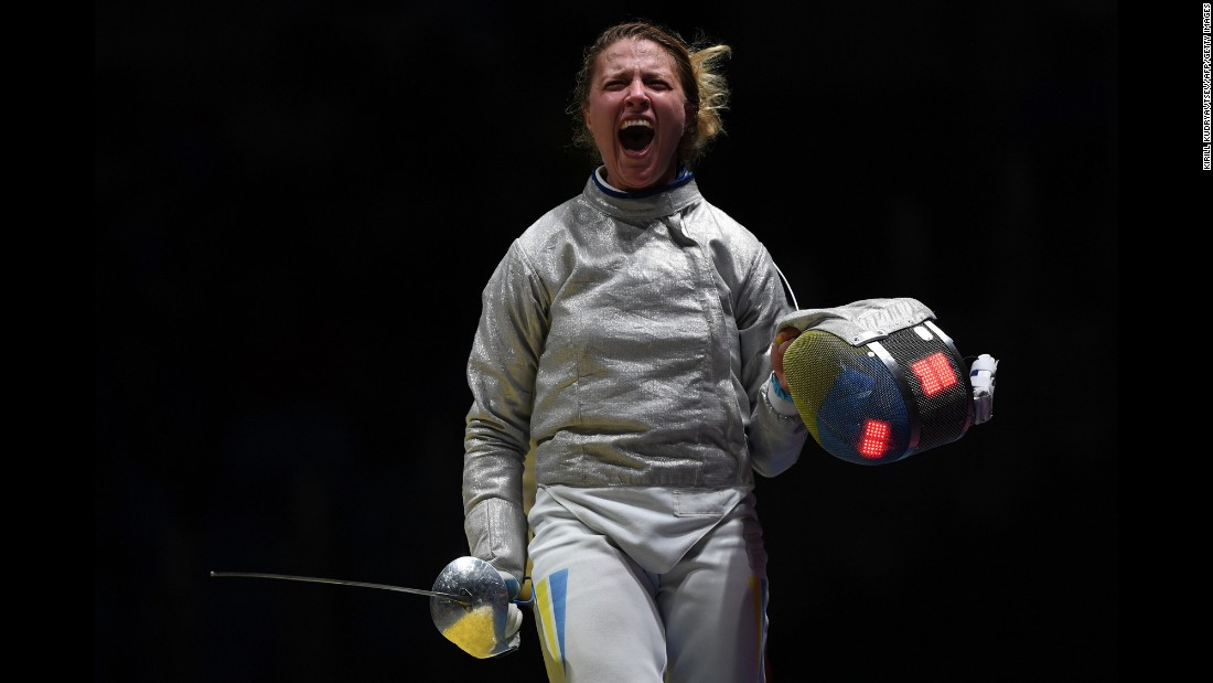 Ukraine's Olga Kharlan celebrates after her team won their sabre fencing quarterfinal bout against South Korea.
