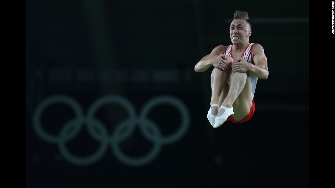 Uladzislau Hancharou of Belarus performs on the trampoline. He earned gold in the individual competition.