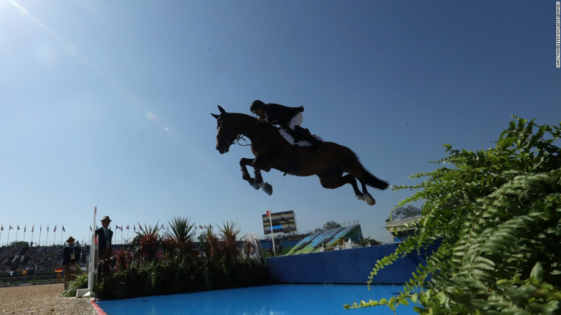 Great Britain's Nick Skelton, riding Big Star, competes during the Equestrian Jumping Individual and Team Qualifier.