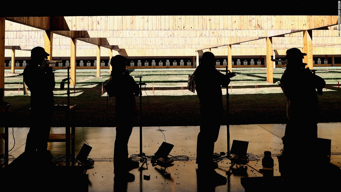 Athletes compete in the 50m rifle 3 position qualifying event.