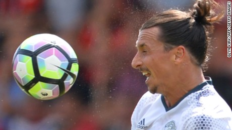 Manchester United's Swedish striker Zlatan Ibrahimovic was making his EPL debut for his new side.