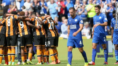 Leicester City's dejected players traipse off after the champions suffered a shock 2-1 opening day defeat at promoted Hull City.