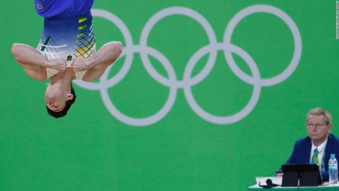 Brazil's Diego Hypolito competes in the men's floor event final of the artistic gymnastics.