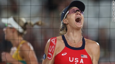 Kerri Walsh Jennings celebrates a point during her quarterfinal match against Australia.