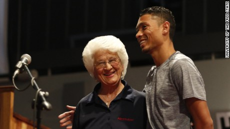 Ans Botha is coach of South Africaís 400-meter gold medalist and new world record holder Wayde van Niekerk.  (Sourced by David McKenzie)