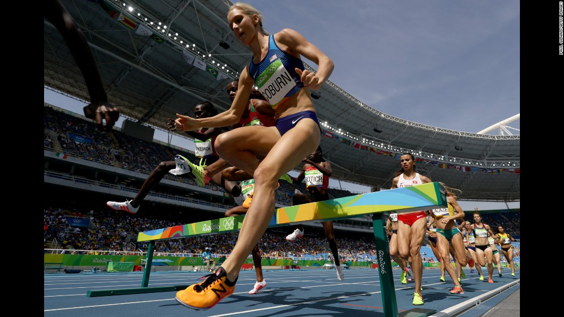 U.S. athlete Emma Coburn competes in the 3,000-meter steeplechase final. She won the bronze.