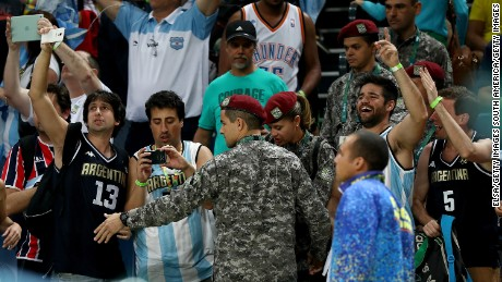 Security is upped for Saturday's Brazil-Argentina basketball game.