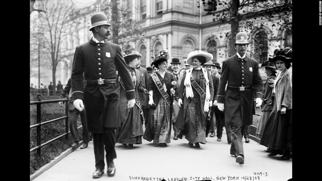 Suffragists are escorted out of New York's City Hall by police in 1908. By this time, a few U.S. states were allowing women to vote. Around the world, women had recently won the right to vote in New Zealand, Australia and Finland.