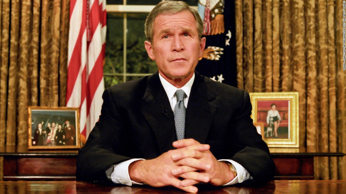 "Bush prepares to address the nation on the evening of September 11. ""Terrorist attacks can shake the foundations of our biggest buildings, but they cannot touch the foundation of America,"" he said in his remarks. ""These acts shatter steel, but they cannot dent the steel of American resolve."""