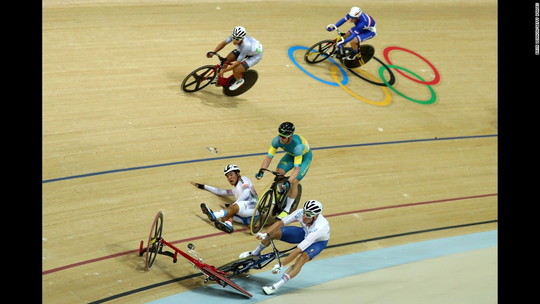 "Viviani, front, gets caught up in a crash during the points race portion of the omnium event. British cyclist Mark Cavendish <a href=""http://edition.cnn.com/2016/08/15/sport/olympics-cycling-mark-cavendish-park-sanghoon/index.html"" target=""_blank"">apologized for causing the crash,</a> which led to South Korea's Park Sang-hoon being taken off on a stretcher."